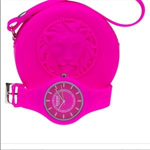 Authentic pink Versace silicone watch